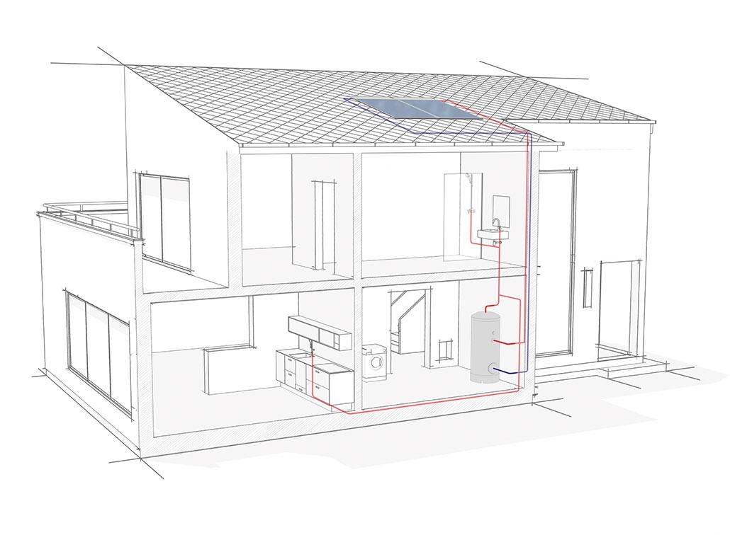 Systemhaus mit Solarkollektor zur Warmwasserbereitung